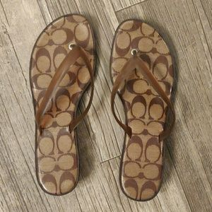 COACH Carin Kitten Heel Jelly Sandals Brown Size 9